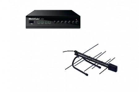 Комплект эфирного телевидения с комнатной антенной и установкой