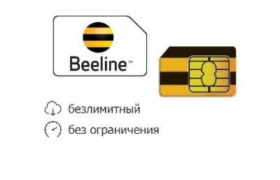 Сим карта Beeline с безлимитным интернетом и пакетом минут смс за 300 р
