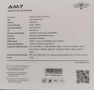 Ugoos am7 разработка 2021 года